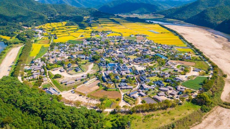 Widok z lotu ptaka Andong, Hahoe wioska w Południowym Korea Hahoe willa zdjęcie stock