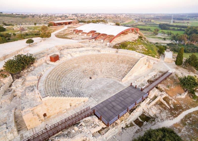 Widok z lotu ptaka antyczny theatre Kourion obraz stock