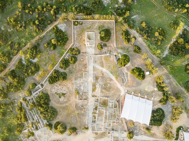 Widok z lotu ptaka Apollonas Ilatis antyczny miejsce, Limassol, Cypr zdjęcia stock