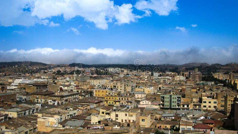 Widok z lotu ptaka Asmara kapitał Erytrea fotografia stock