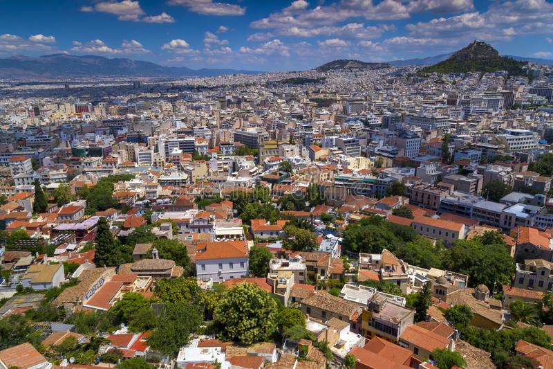 Widok z lotu ptaka Ateny kapitał Grecja zdjęcie royalty free
