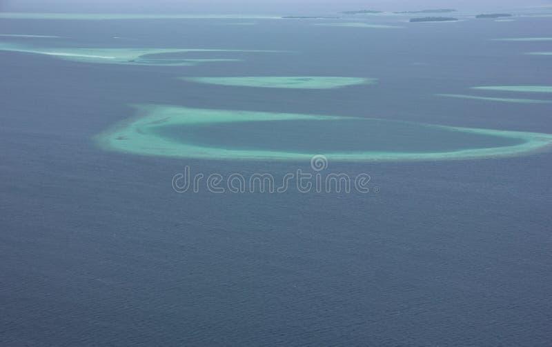 Widok z lotu ptaka atole od hydroplanu, Maldives obraz royalty free
