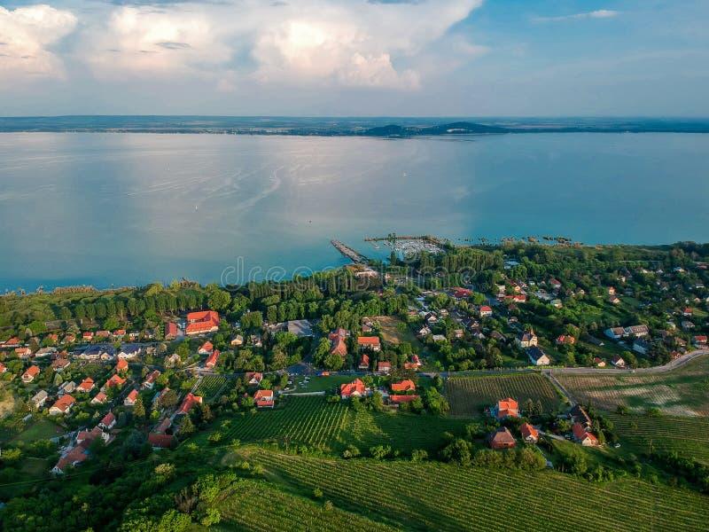 Widok z lotu ptaka Badacsony wzgórze obraz royalty free
