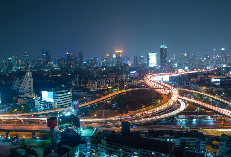 Widok z lotu ptaka Bangkok miasta w centrum tło, autostrady interch zdjęcia royalty free
