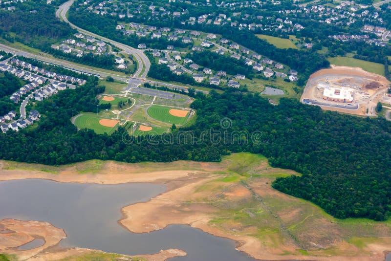 Widok Z Lotu Ptaka baseballi pola brać od Latającego samolotu zdjęcia stock