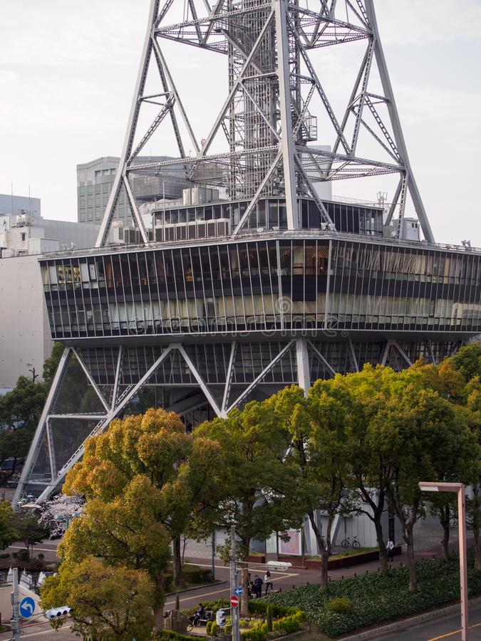 Widok z lotu ptaka baza Nagoya TV wierza i Hisaya Odori park, Japonia zdjęcie stock