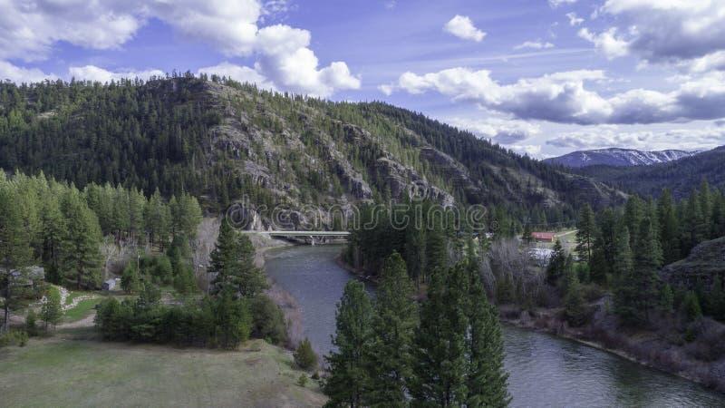 Widok Z Lotu Ptaka Blackfoot Rzeczna dolina W Montana fotografia stock