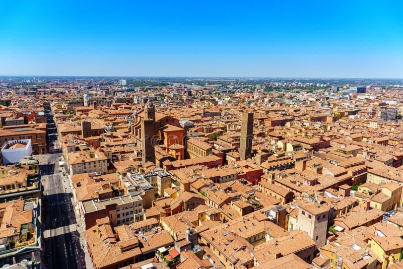 Widok z lotu ptaka Bologna dziejowy centrum miasto fotografia royalty free