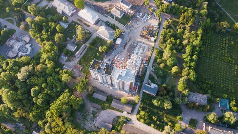 Widok z lotu ptaka budowa multistorey budynek zdjęcie stock