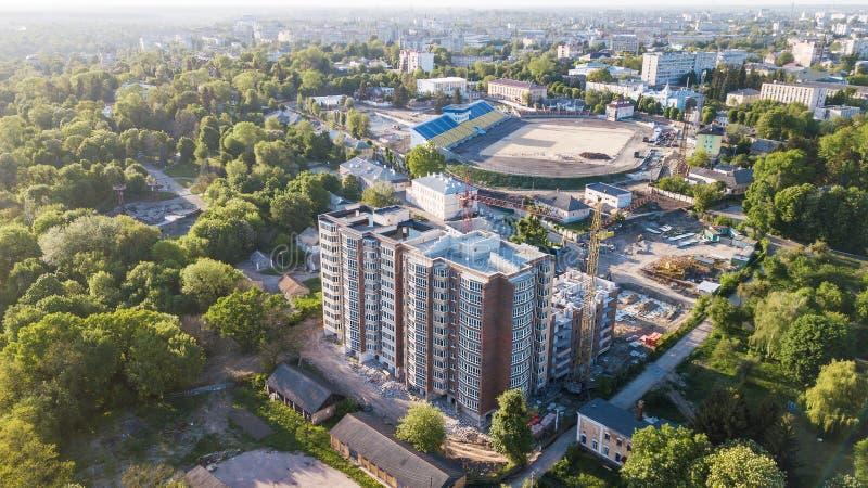 Widok z lotu ptaka budowa multistorey budynek obraz stock