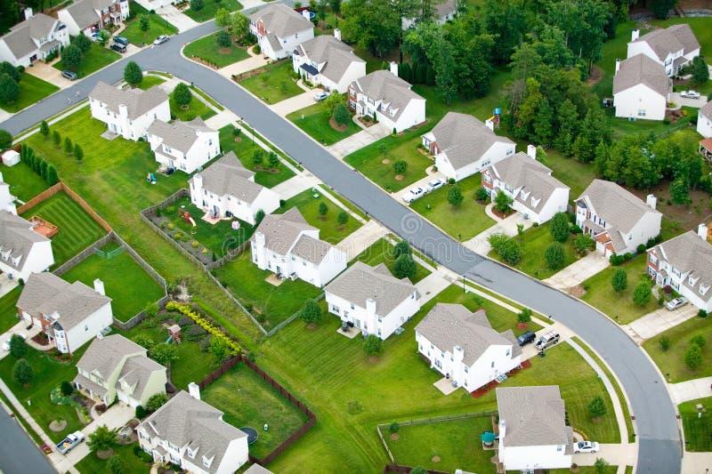 Widok z lotu ptaka budynki mieszkalne developmen zdjęcia royalty free