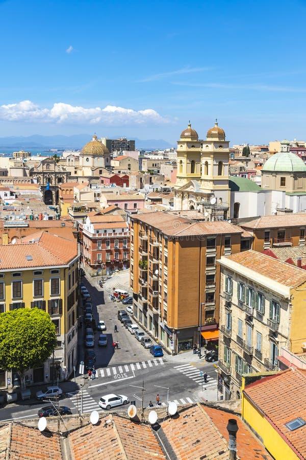 Widok z lotu ptaka Cagliari stary miasteczko, Sardinia, Włochy zdjęcia royalty free