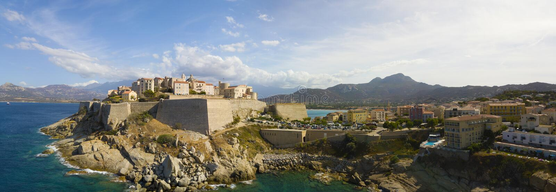 Widok z lotu ptaka Calvi miasto, Corsica, Francja fotografia royalty free