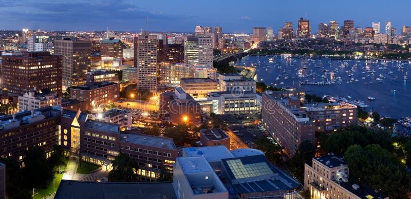 Widok z lotu ptaka Cambridge i Boston zdjęcia stock