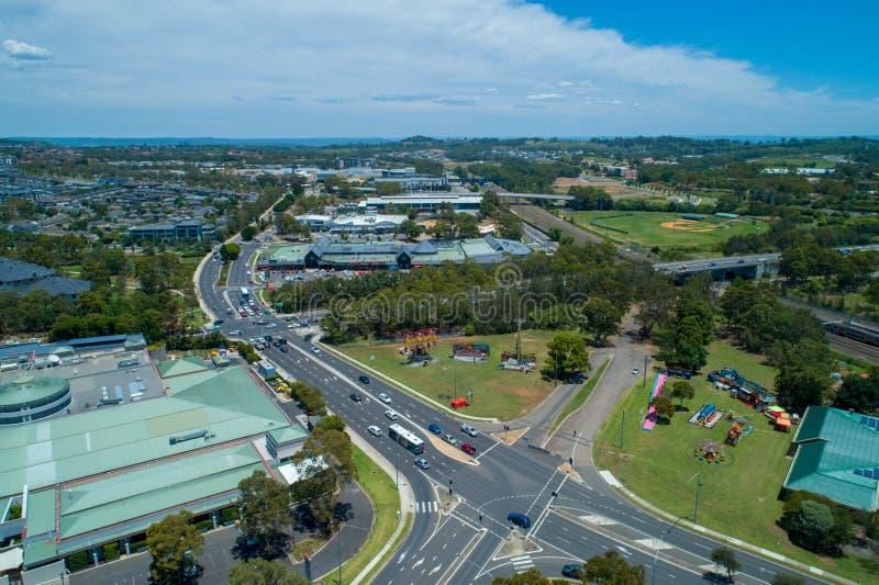 Widok z lotu ptaka Campbelltown, Nowe południowe walie zdjęcie stock