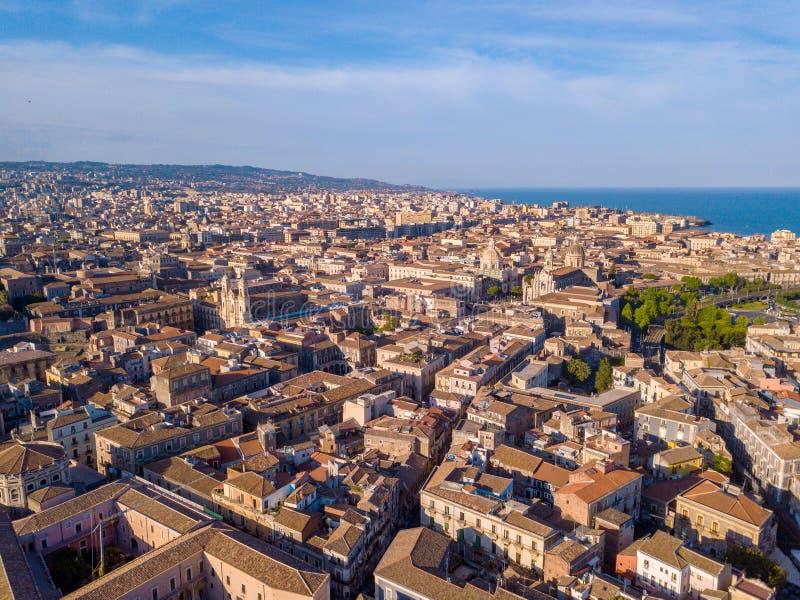 Widok z lotu ptaka Catania miasto na Sicily obrazy stock