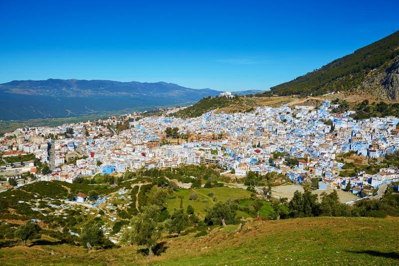 Widok z lotu ptaka Chefchaouen, Maroko fotografia royalty free