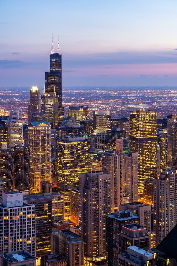 Widok z lotu ptaka Chicagowscy linia horyzontu Po?udniowi obrazy royalty free