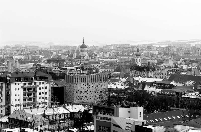 Widok z lotu ptaka Cluj Napoca, Rumunia od Cetatuia wzgórza obrazy stock