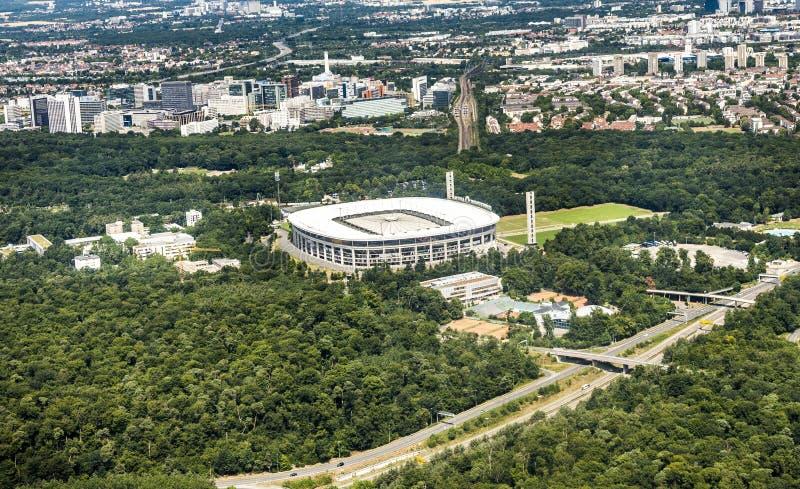 Widok z lotu ptaka Commerzbank arena w Frankfurt obraz royalty free