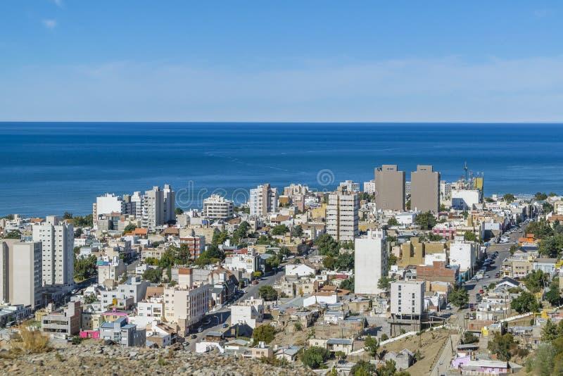 Widok Z Lotu Ptaka Comodoro Rivadavia miasto, Argentyna obrazy royalty free