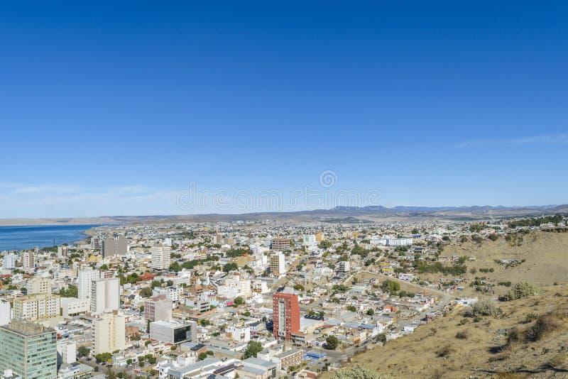 Widok Z Lotu Ptaka Comodoro Rivadavia miasto, Argentyna obraz stock