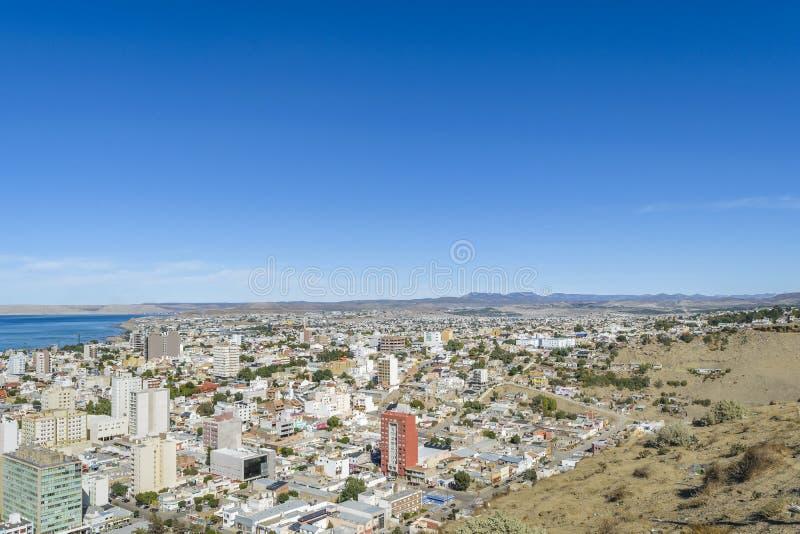 Widok Z Lotu Ptaka Comodoro Rivadavia miasto, Argentyna zdjęcie royalty free