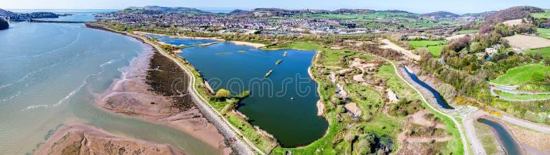 Widok z lotu ptaka Conwy teren w północnym Wales fotografia royalty free