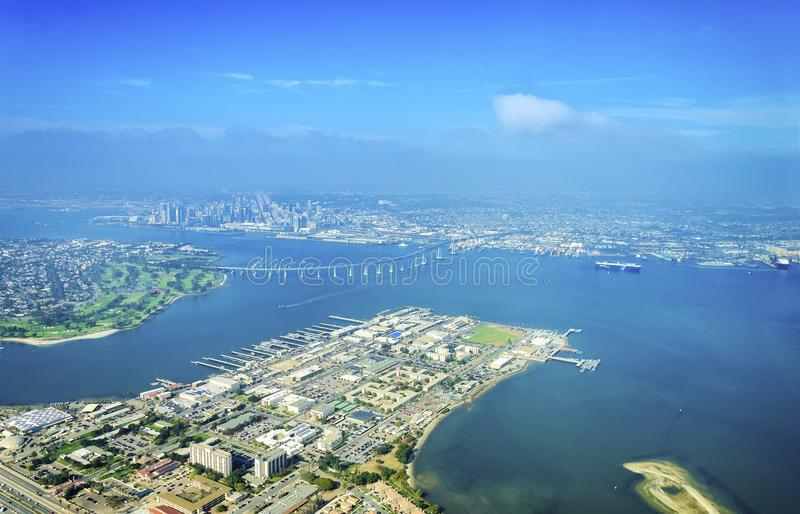Widok z lotu ptaka Coronado wyspa, San Diego fotografia stock