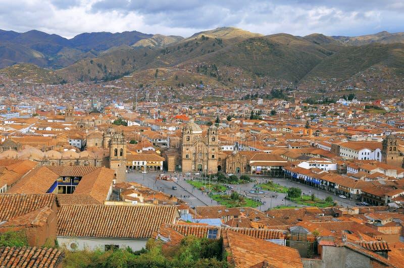 Widok z lotu ptaka Cuzco centrum miasta obraz stock