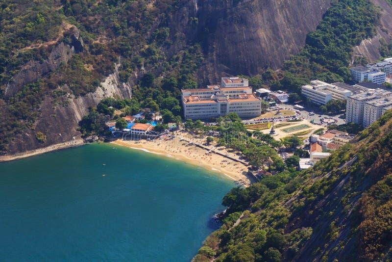 Widok z lotu ptaka czerwieni plaża Rio De Janeiro (praia vermelha) zdjęcia stock