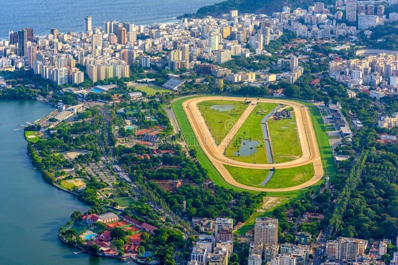 Widok z lotu ptaka dżokeja klub i Leblon w Rio De Janeiro, Brazylia obrazy royalty free