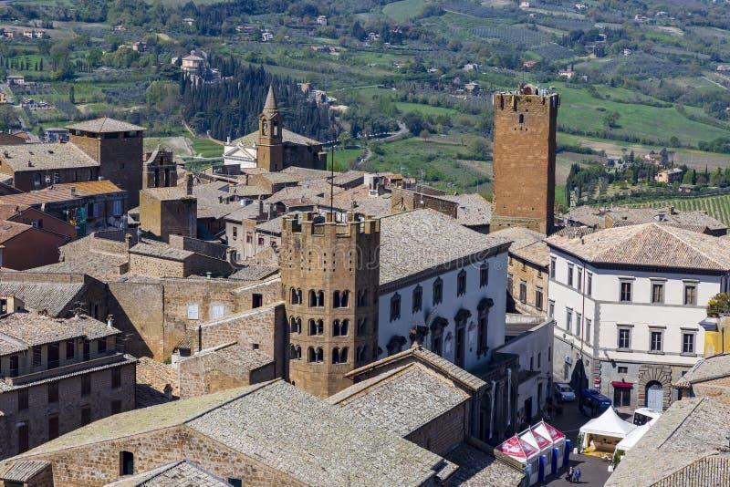 Widok z lotu ptaka dach przy Orvieto Terni W?ochy fotografia stock