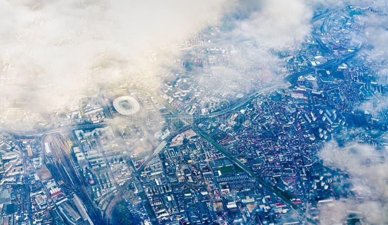 Widok z lotu ptaka Denis z stade de france Północny przedmieście Paryż fotografia royalty free