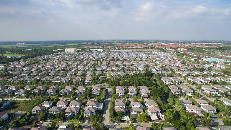 Widok z lotu ptaka dobry środowisko dom w dobrym rozwoju realu e obrazy stock