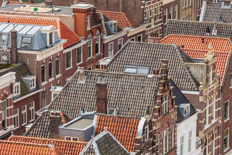 Widok z lotu ptaka Holenderski historyczny miasto Delft zdjęcia stock