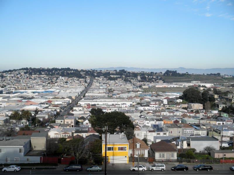 Widok z lotu ptaka domy, samochody i ulicy San Francisco, zdjęcie royalty free