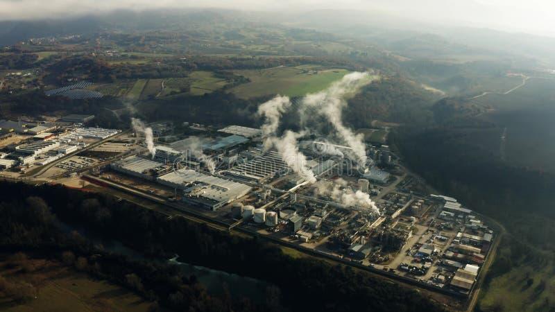 Widok z lotu ptaka duży park przemysłowy zdjęcia stock