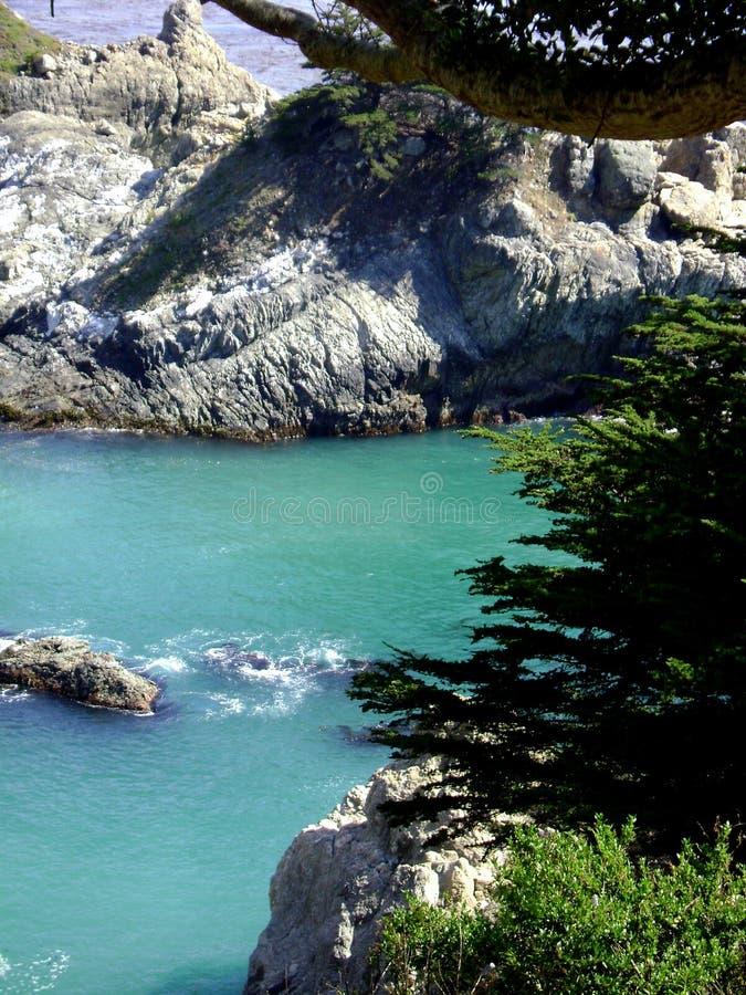 Widok z lotu ptaka Duży Sura Kalifornia wybrzeże w Julia Pfeiffer Pali stanu parka fotografia stock