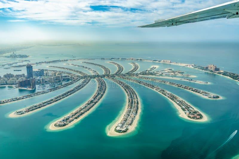 Widok z lotu ptaka Dubaj Jumeirah Palmowa wyspa, UAE zdjęcia stock
