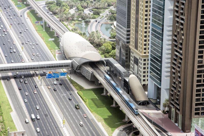 Widok z lotu ptaka Dubaj metro, Dubaj, UAE obraz stock
