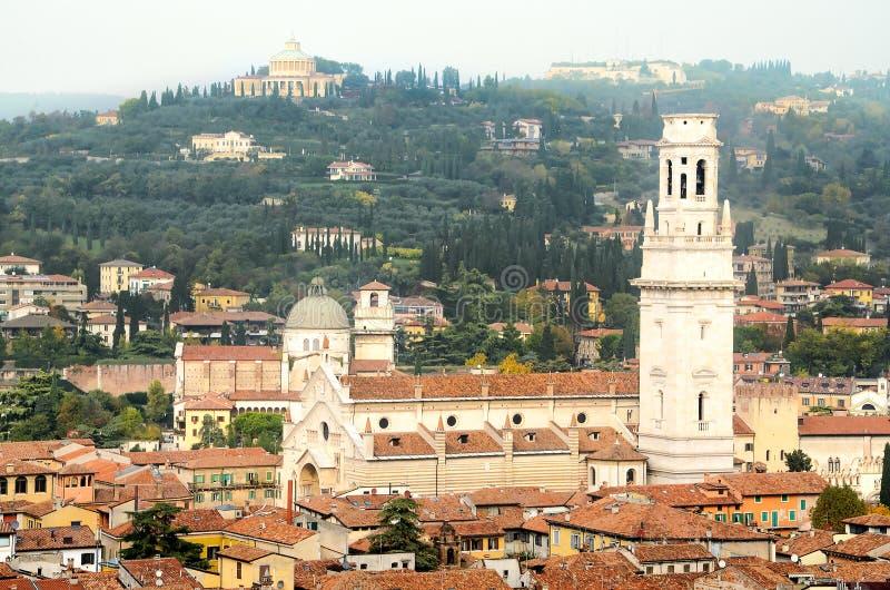 Widok z lotu ptaka Duomo di Verona katedra obrazy royalty free