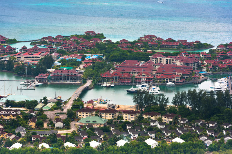Widok z lotu ptaka Eden wyspa Mahe Seychelles fotografia royalty free