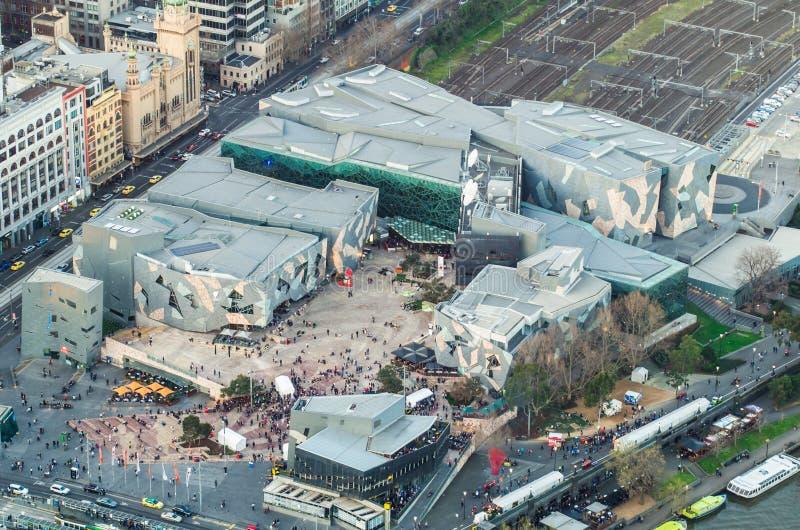 Widok z lotu ptaka federacja kwadrat w Melbourne, Australia obrazy stock