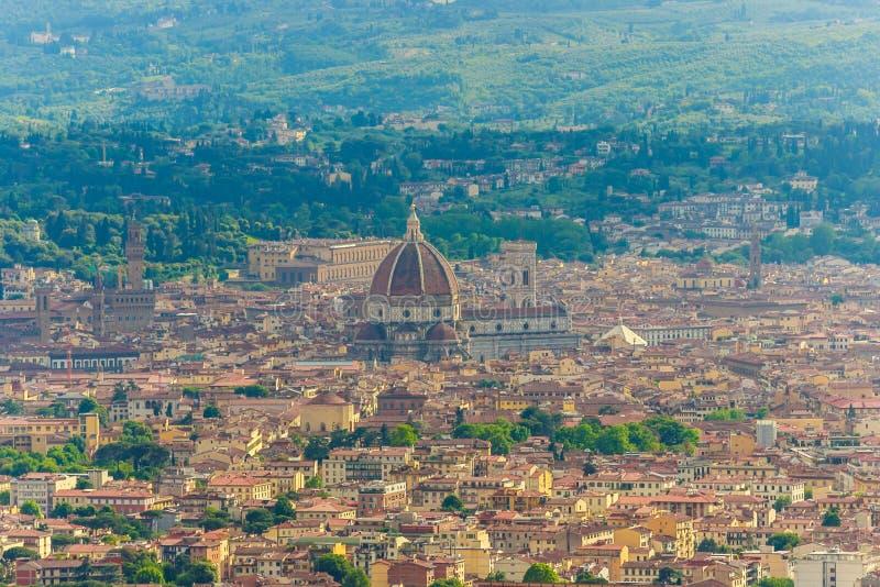 Widok z lotu ptaka Florencja Włochy od lastryka Fiesole, fotografia royalty free