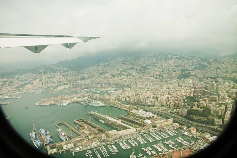 Widok z lotu ptaka genuy schronienie, Włochy zdjęcia royalty free