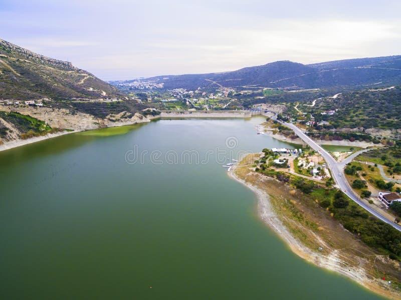Widok z lotu ptaka Germasogeia tama, Limassol, Cypr obrazy stock