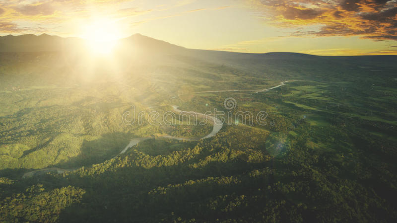 Widok z lotu ptaka halna dolina obraz royalty free