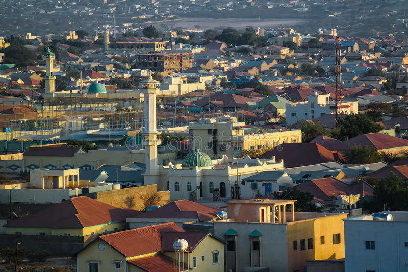 Widok z lotu ptaka Hargeisa, duży miasto Somaliland Somalia obraz stock