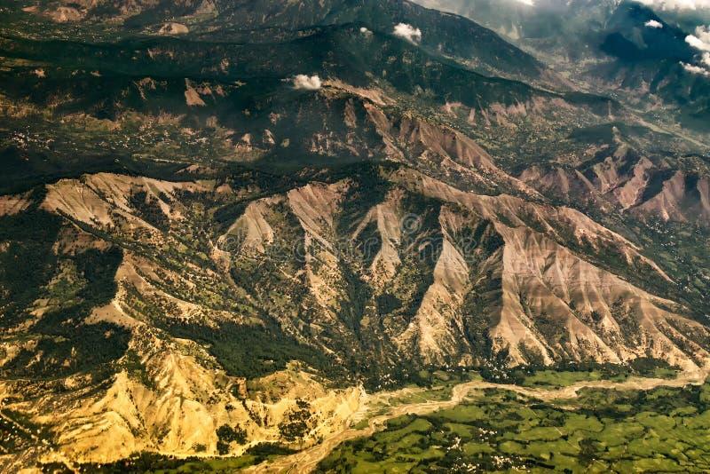 Widok z lotu ptaka himalajskie góry ladakh, India zdjęcie stock
